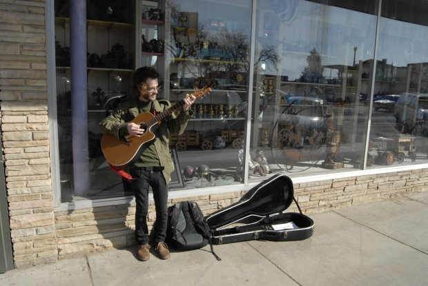 Denton Music, Denton Square, Denton, Street Music, Acoustic Guitar, panhandling
